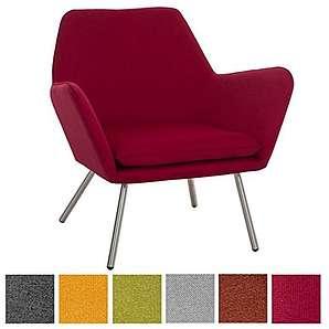 CLP Design Edelstahl Lounge-Sessel CARACAS, Stoffbezug, Polsterstärke 6 cm, Sitzhöhe 40 cm Rot