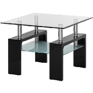 Beistelltisch Glassy I - Klarglas / Schwarz, roomscape