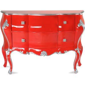Kommode Rot/ Silber 2 Schubkästen Teilmassiv Sit-Möbel Pomp Mdf Stylisch
