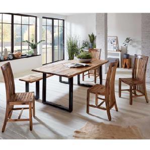 Baumkantentisch mit Bank und Stühlen Akazie massiv (6-teilig)