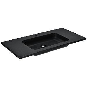 [neu.haus] Waschbecken Handwaschbecken Einbauwaschbecken - schwarz - 90x46x12,5cm - aus Mineralguss