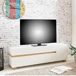 FineBuy Sideboard SKANDI 160 X 52 X 42 Cm MDF Holz Skandinavisch Weiß Matt  Kommode   Design Anrichte Mit Vier Schubladen Und Einer Türe Ohne Griffe ...