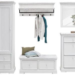 Garderoben-Set Opia III (5-teilig) - Kiefer massiv - Weiß/Weiß Vintage, Maison Belfort