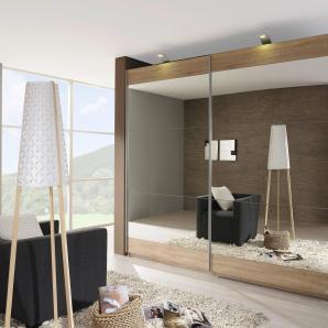 Rauch SELECT Schwebetürenschrank beige, mit Spiegel, oben und unten Dekorstreifen, Breite 181cm