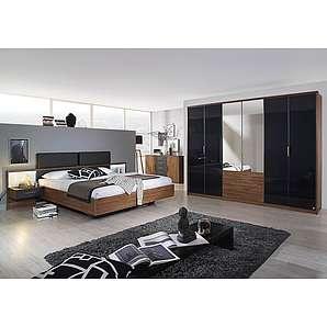 Schlafzimmer 4-tlg. in Eiche Stirling NB, basaltfarbige Absetzungen, Drehtürenschrank B: ca. 271 cm, Bett 180 x 200 cm