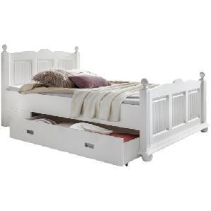 Massivholzbett Friedrich (mit Bettkasten) - Fichte massiv - Weiß, Landhaus Classic