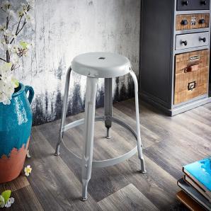 Sitzhocker Dakoi Grau Industrial Optik mit Fußablage, Sitzhocker / Sitzwürfel
