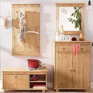 Home affaire Massivholz Garderobenset (4-tlg.), natur »Indra«, FSC®-zertifiziert