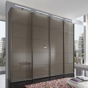Schwebetürenschrank braun, Breite 330 cm, Höhe 236 cm, Glasfront, WIEMANN