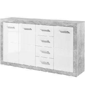 Sideboard Rognan II - Weiß / Beton Dekor, Fredriks