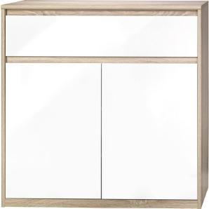 CS SCHMAL: Kommode, Holzwerkstoff, Eiche, Weiß, B/H/T 106 110 45