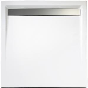 Schulte Duschwanne Quadrat extra-flach mit Rinne Alpinweiß 100 cm x 100 cm