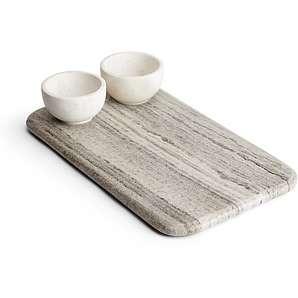 Sienna rechteckige Servierplatte und 2 Schüsseln für Chips und Dips aus Marmor