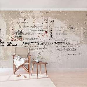 Bilderwelten Beton Vliestapete Breit »Alte Betonwand mit Bertolt Brecht Versen«