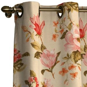 Vorhang mit Ösen - Blumen groß Beige - 130x260 cm, Dekoria