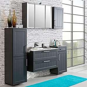 Komplett Badezimmermöbel Set ? matt grau ? Keramik-Waschtisch mit Unterschrank ? Spiegelschrank mit LED-Beleuchtung ? Midischrank Unterschrank Hängeschrank ? Türdämpfung & Softclose ? Made in Germany