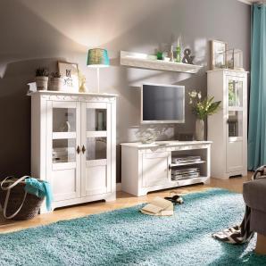 Home affaire Landhaus 3-teilige Wohnwand, weiß »Laura«, FSC®-zertifiziert