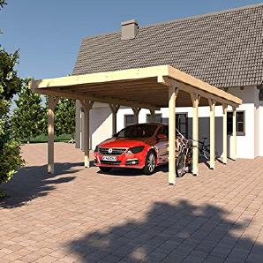 Carport Flachdach MONTREAL XIII   500 X 800 Cm Leimbinder Fichte  Flachdachcarport