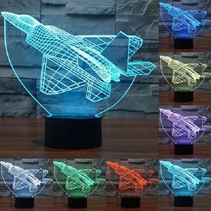 Lampe 3D ILLUSION Lichter der Nacht, kingcoo 7Farben LED Acryl Licht 3D Creative Berührungsschalter Stereo Visual Atmosphäre Schreibtischlampe Tisch-, Geschenk für Weihnachten, Kunststoff, Avion 0.50 wattsW