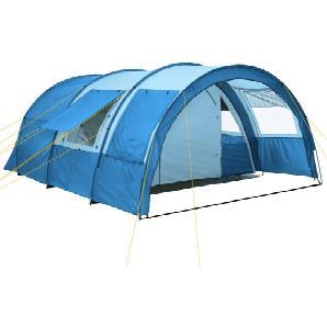 CampFeuer - Tunnelzelt, blau-hellblau, 2 Kabinen, 4 Pers., 5000 mm WS