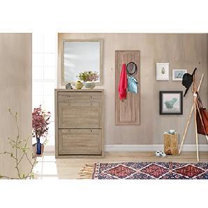 JAMY VI Landhaus Dielen-Set Garderoben-Set Schuhkommode Wandgarderobe Spiegel, MDF-Holz (Sonoma Eiche)