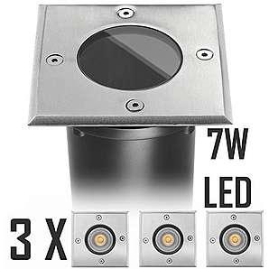 3er LED Bodeneinbaustrahler Set mit LED GU10 Markenstrahler von LEDANDO - 7W - 530lm - warmweiß - eckig - IP65 - Blende Edelstahl 316 - belastbar 1t - 50W Ersatz - 30° Abstrahlwinkel - A+ [Bodeneinbauleuchte Bodenleuchte Bodenlampe]