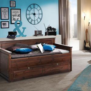 Home affaire Kiefer Daybett «Tessin» », wahlweise mit oder ohne Bettschublade«, braun, mit Bettschublade, kolonialfarben, FSC®-zertifiziert