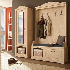Home affaire Garderoben-Set (2-tlg.) »Arosa«, natur, Landhaus Stil, FSC®-zertifiziert