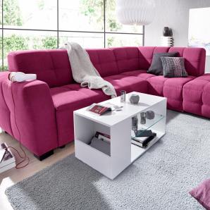 Sit&more Ecksofa mit Bettfunktion, lila, Ottomane rechts, B/H/T: 261x41x57cm, hoher Sitzkomfort