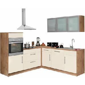 Winkelküche mit E-Geräten gelb, ohne Aufbauservice, »Aachen«, gelb