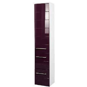 Held Möbel 219.2085 Rimini Midischrank 1-türig, 2 Schubkästen, 2 Einlegeböden, 25 x 130 x 27 cm, hochglanz aubergine / weiß