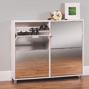Schuhschrank Furna 09, Farbe: Weiß - Abmessungen: 88 x 120 x 24 cm (H x B x T)