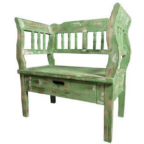 Shabby Sitzbank in Grün Armlehnen