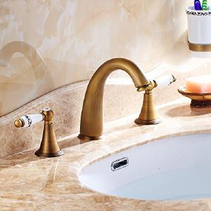 TougMoo Förderung Standmontage verbreitete Messing antik Badezimmer Waschbecken Wasserhahn Griffe Dual Mixer HJ-6837W, weiß