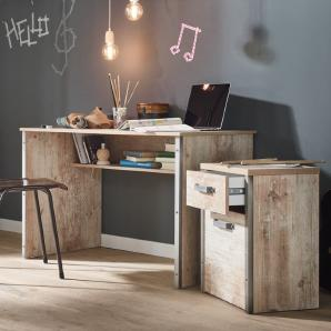Schreibtisch Set mit Rollcontainer in findusschalung DERRY-04