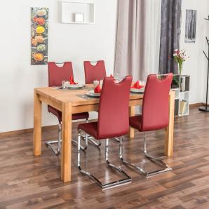 Wooden Nature Esstisch-Set 332 inkl. 4 Stühle (rot), Buche Massivholz - 160 x 90 (L x B)