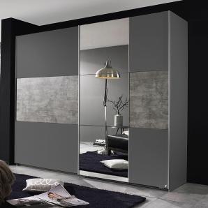 Rauch PACK`S Schwebetürenschrank mit Spiegel grau, Breite 218 cm, 2-türig