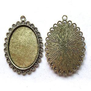 Ritoule 20pcs/lot 30x40mm Necklace Pendant Setting Antique Bronze Silver Glass Caboch.