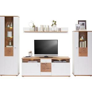 HOM`IN: Wohnwand, Glas, Holzwerkstoff, Eiche, Weiß, B/H/T 310 202 47