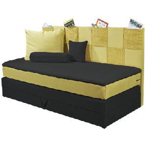 Einzel-Boxspringbett mit Bettkasten 90x200 gelb Clever ¦ schwarz ¦ Maße (cm): B: 98 H: 112 Kindermöbel  Kinderbetten » Höffner