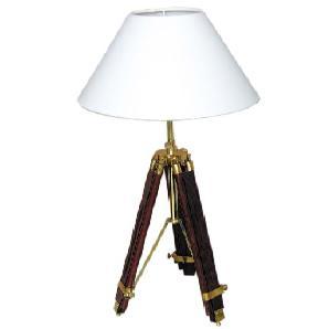 Bemerkenswert repräsentative Stehlampe Stativ Lampe Leuchte Dreibein-Stativ antik max. H 94 cm Lampenschirm hellbeige-cremeweiss Ø 35 cm im Architekturstil ehemaliger britischer Kolonien