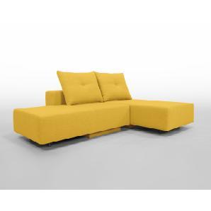 Modulsofa Set BonBon2 S Doppelbett-Funktion, Erweiterbar, flexibel zu stellen, Moderner gelber Webstoff. Schlafsofa für 2 Personen
