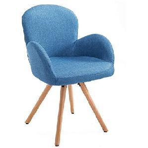 Esszimmerstuhl Wohnzimmerstuhl Armsessel Sessel Stuhl Küchenstuhl Leinen Holz Blau