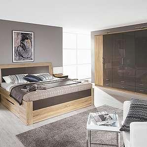 4-tlg. Schlafzimmer in Sonoma Eiche-Nb.,  Abs. Hochglanz lava, Falt-/Kombischrank B: 271 cm, Bett Liegefläche 180 x 200 cm, Nachtschränke B: 50 cm