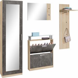 Garderoben-Set »Meran« (4-tlg.), mit Spiegelfront im Garderobenschrank
