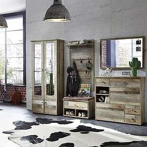 5-tlg. Garderoben-Set in Driftwood-Nachbildung, Garderobenschrank, Paneel, Bank, Spiegel, Schuhschrank, Gesamtmaß: ca. 274/189/40 cm