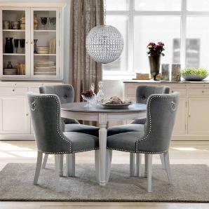 Essgruppe mit rundem Tisch Weiß Grau (5-teilig)