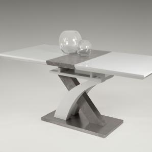 Esszimmertisch in Hochglanz weiß lackiert mit Absetzungen in Beton-Optik, ausziehbar durch Synchronauszug, Maße: B/H/T ca. 160-200/76/90 cm