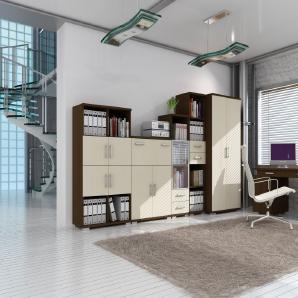 Büro Komplett - Set A Trelew, 6-teilig, Farbe: Wenge / Ahorn