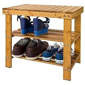 SoBuy® Schuhregal, Sitzbank, Schuhbank aus hochwertigem Bambus mit 2 Jahren Garantie, B50cm FSR02-K-N